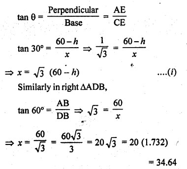 RD Sharma Class 10 Solutions Chapter 12 Heights and Distances Ex 12.1 - 53a