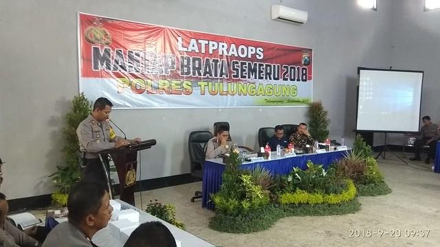 Suasana Kegiatan Latpraops Mantap Brata Semeru 2018 oleh Polres Tulungagung di Gedung Serba Guna Bayangkara Tulungagung (20/9)