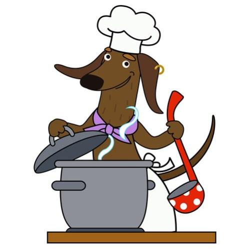 Cartoon dacshund dog chef character