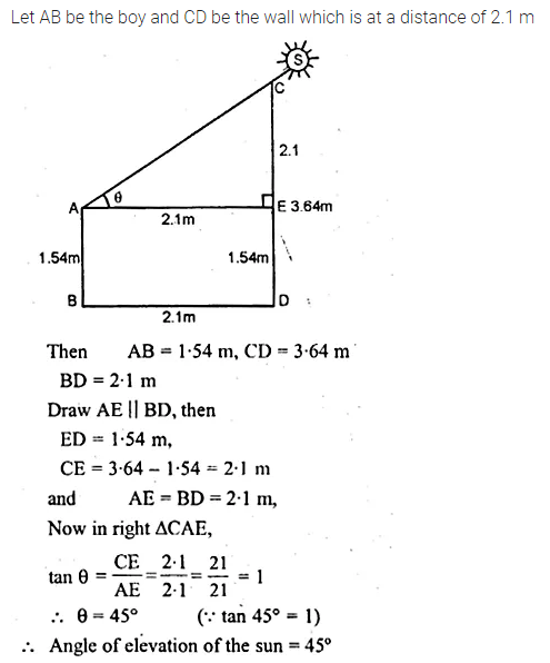 ML Aggarwal Class 10 Solutions for ICSE Maths Chapter 21 Heights and Distances Chapter Test 5