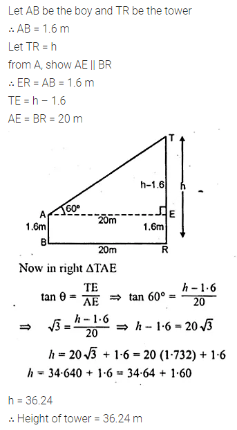 ML Aggarwal Class 10 Solutions for ICSE Maths Chapter 21 Heights and Distances Chapter Test 4