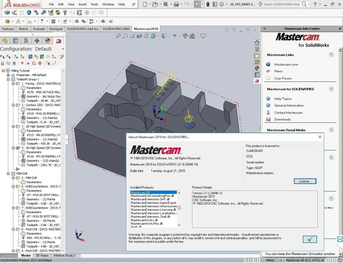 Programming with Update2 for Mastercam 2019 for solidworks x64 full