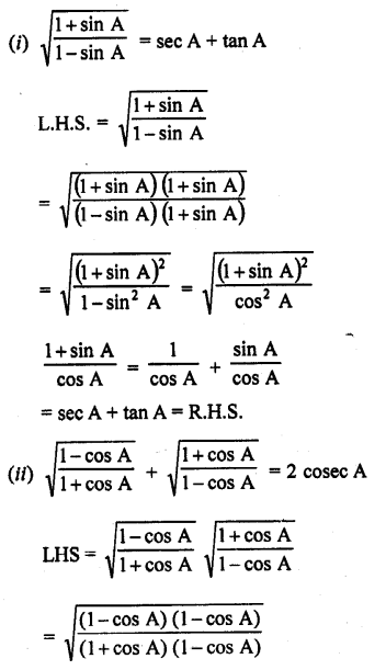 RD Sharma Class 10 Solutions Chapter 11 Trigonometric Identities Ex 11.1 - 37a