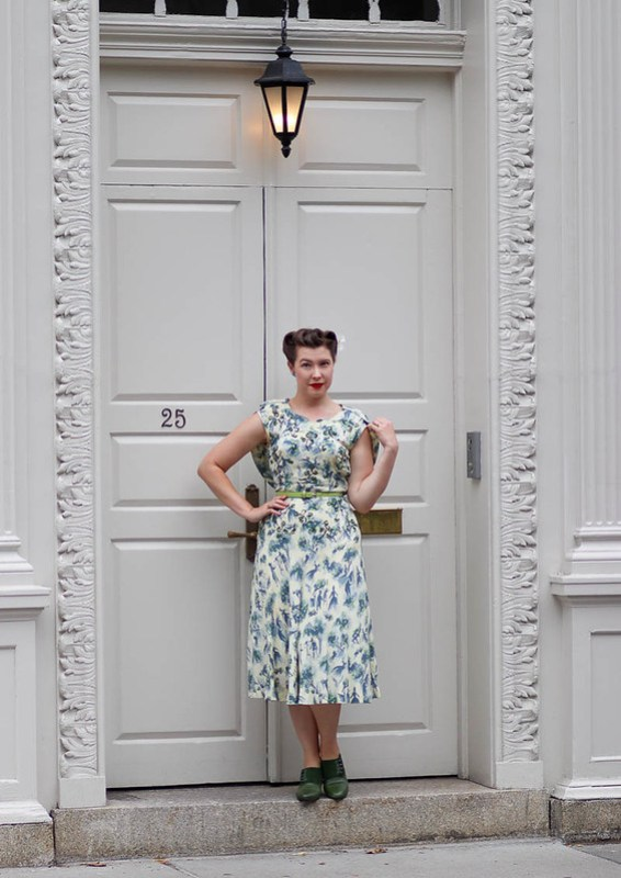 1940s caped novelty rayon dress with sequins