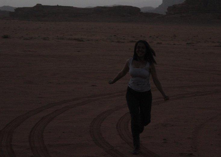 Happy in Wadi Rum, Jordan