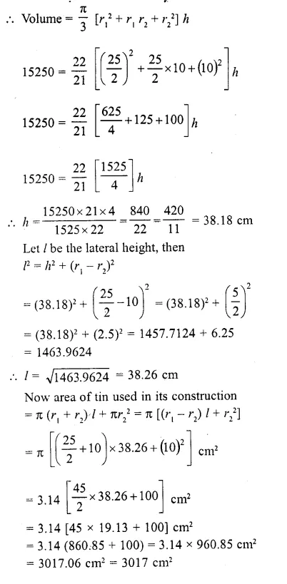 RD Sharma Class 10 Solutions Chapter 14 Surface Areas and Volumes  RV 62