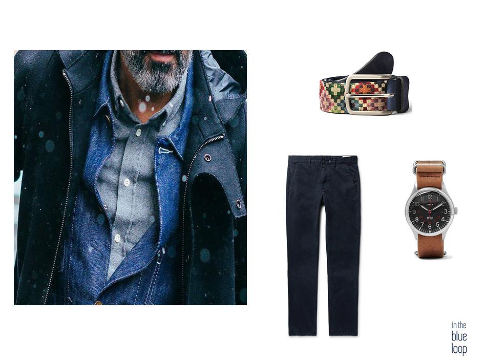 Chinos azules, reloj y cinturón tauce de blue hole en 5 piezas clásicas que puedes llevar a cualquier edad