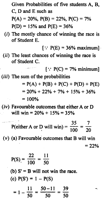 Selina Concise Mathematics class 7 ICSE Solutions - Probability-2b