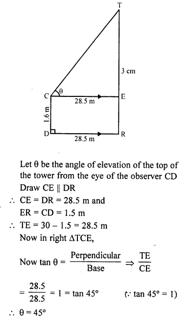 RD Sharma Class 10 Solutions Chapter 12 Heights and Distances Ex 12.1 - 72