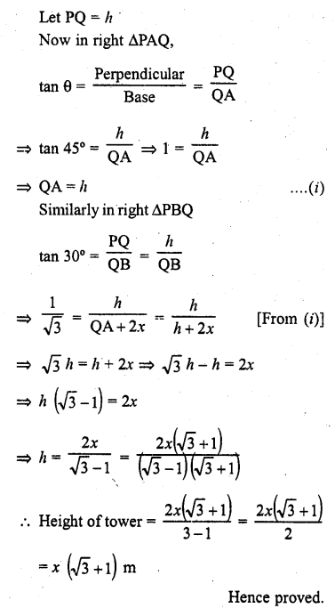 RD Sharma Class 10 Solutions Chapter 12 Heights and Distances Ex 12.1 - 35a