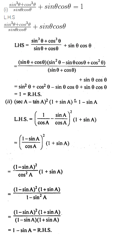 ML Aggarwal Class 10 Solutions for ICSE Maths Chapter 19 Trigonometric Identities Chapter Test 8