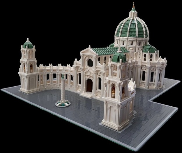 A beautiful LEGO baroque cathedral emerges out of nowhere