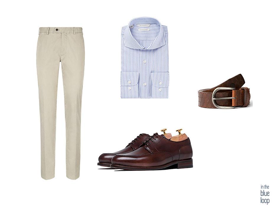 Look smart-casual con cinturón Nublo blue hole, chinos, camisa azul de rayas y zapatos derby