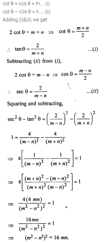 ML Aggarwal Class 10 Solutions for ICSE Maths Chapter 19 Trigonometric Identities Chapter Test 12