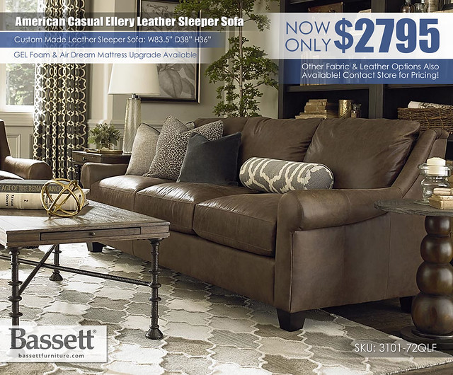 American Casual Ellery Leather Bassett Sleeper Sofa_3101-72LF