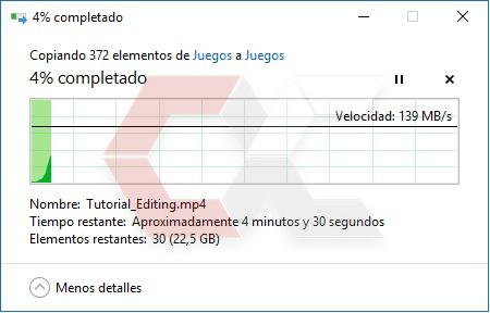Copiar desde Disco Mecánico 2 TB a 10 TB 23 GB OverCluster
