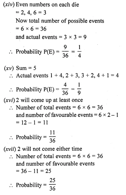 RD Sharma Class 10 Solution Chapter 13 Probability