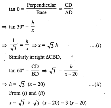 RD Sharma Class 10 Solutions Chapter 12 Heights and Distances Ex 12.1 - 16a