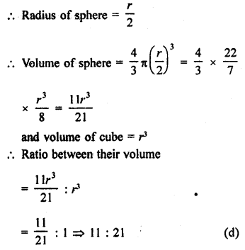 RD Sharma Class 9 Solutions Chapter 21 Surface Areas and Volume of a Sphere MCQS 4