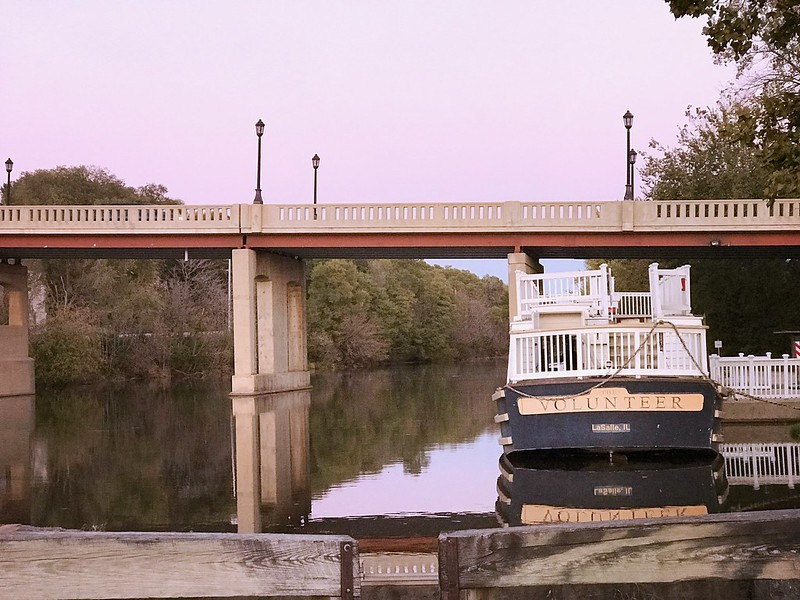 The Volunteer replica canal boat on the Illinois & Michigan Canal