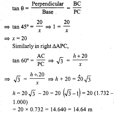 RD Sharma Class 10 Solutions Chapter 12 Heights and Distances Ex 12.1 - 24a