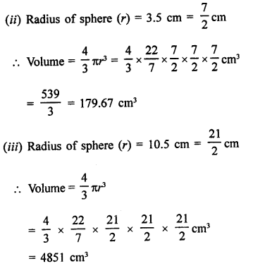 RD Sharma Class 9 Solutions Chapter 21 Surface Areas and Volume of a Sphere Ex 21.2 1a