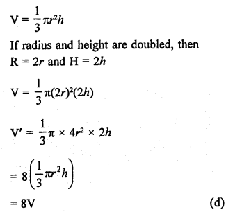 RD Sharma Class 9 Maths Book Questions Chapter 20 Surface Areas and Volume of A Right Circular Cone