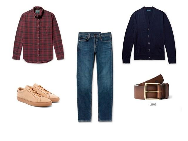 Look 02 Copia Jeans ou jeans, chemise à carreaux, cardigan bleu, ceinture trou bleu Garoé et baskets