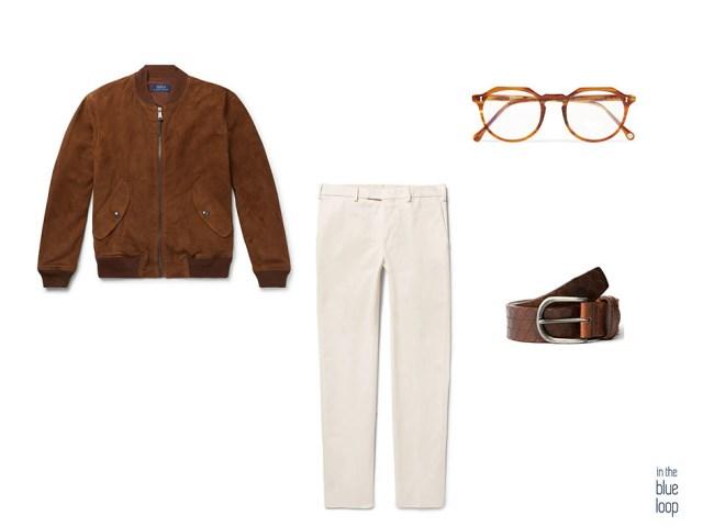 Look masculin avec ceinture Nublo à trou bleu, veste en daim, pantalon chino et lunettes de vue