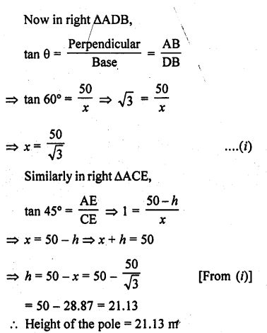 RD Sharma Class 10 Solutions Chapter 12 Heights and Distances Ex 12.1 - 46a
