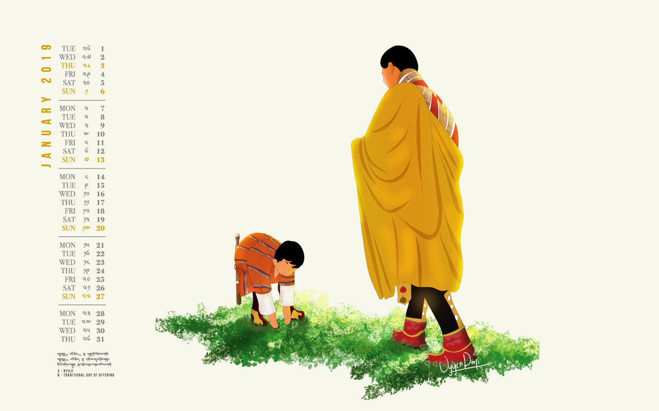 Bhutan calendar: January 2019