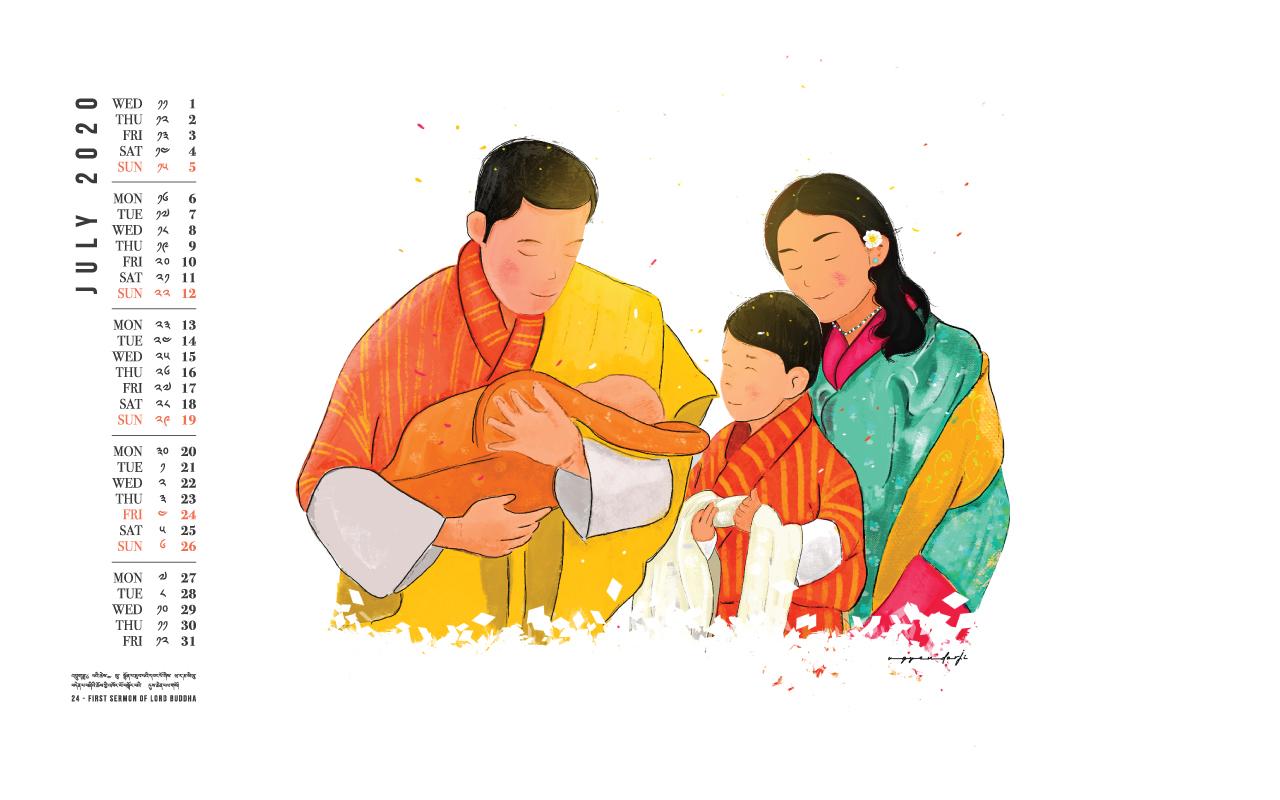 Bhutan calendar: June 2020