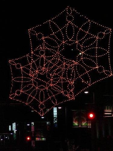 Snowflakes made out of lights in downtown Houston