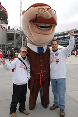 Teddy Roosevelt poses with Let Teddy Win! fans in the Nationals Park centerfield plaza