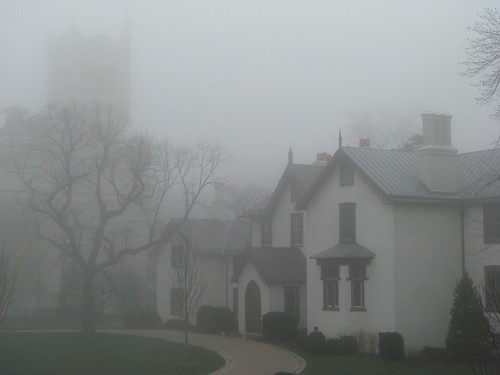 President Lincoln's Cottage on a foggy morning in April.  The Sherman Tower is visible in the background.