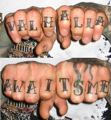 Knuckle Tattoos by HeadOvMetal. From HeadOvMetal