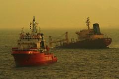 Ship sinking in the Strait of Gibraltar