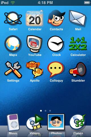 Gartoon iPod Touch Summerboard Theme