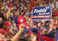 Presidents Race sign at Nationals Park.
