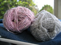 new yarns - pink cotton/ viscose and green-grey acrylic