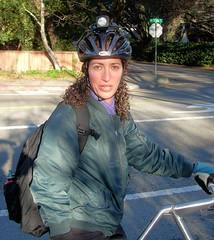 Kate astride the Strida folding bike