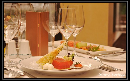 Table setting with Tomato Terrine and Tasters Plate