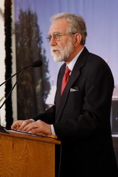 Douglas L. Wilson delivers the key note speech at the President Lincoln's Cottage Grand Opening Ceremony.