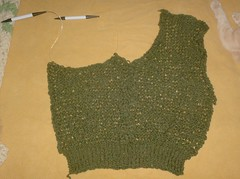 Airy Cabled V-Neck Pullover - Front 80% Complete