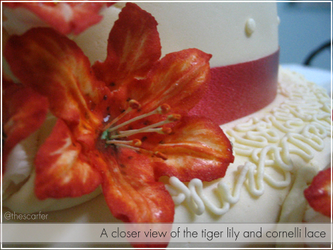 A closer view of the tiger lily and cornelli lace