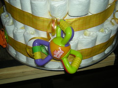 A toy on the Diaper Cake