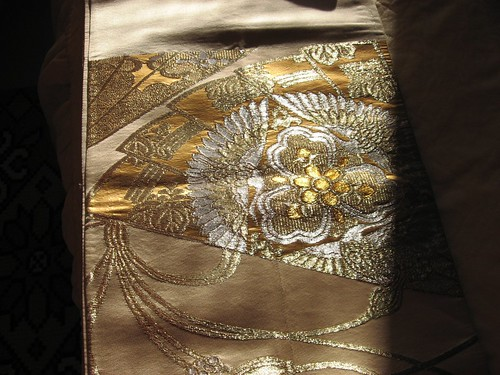 Rare golden embroidery obi kimono belt