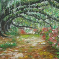 Oil Pastel(油蠟筆)_綠色隧道
