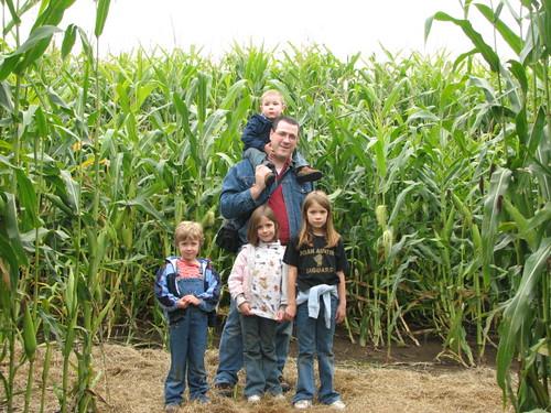 Paul and kids in Corn maze