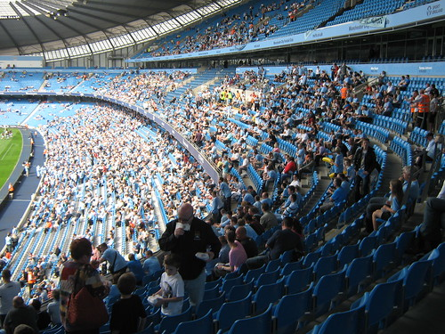 The East Stand, with mascots Moonchester and Moonbeam visible at the front